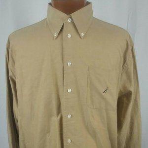 Nautica Vintage Oxford Brown Cotton 16.5-32/33